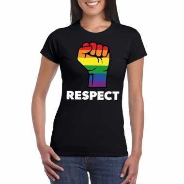 Respect lgbt shirt regenboog vuist zwart dames carnavalskleding roose