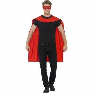 Rode cape oogmasker volwassenen carnavalskleding roosendaal