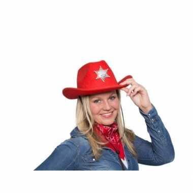 Rode cowboyhoed led verlichting carnavalskleding roosendaal