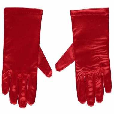 Rode gala handschoenen kort satijn carnavalskleding roosendaal