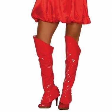 Rode glimmende laarshoezen dames carnavalskleding roosendaal