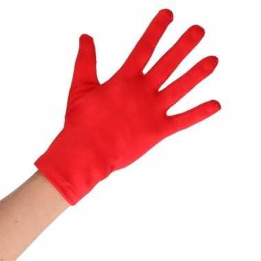 Rode korte handschoenen volwassenen carnavalskleding roosendaal