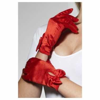 Rode korte verkleed handschoenen dames carnavalskleding roosendaal