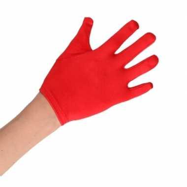 Rode satijnen handschoenen kinderen carnavalskleding roosendaal