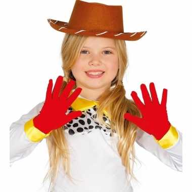 Rode verkleed handschoenen kinderen carnavalskleding roosendaal