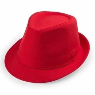 Rood trilby verkleed hoedje volwassenen carnavalskleding roosendaal