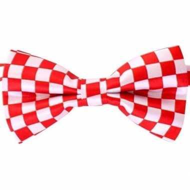 Rood/wit geblokt brabant vlinderstrikje dames/heren carnavalskleding roosendaal
