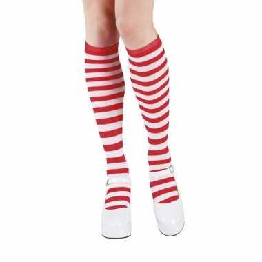 Rood/wit gestreepte kniekousen dames carnavalskleding roosendaal
