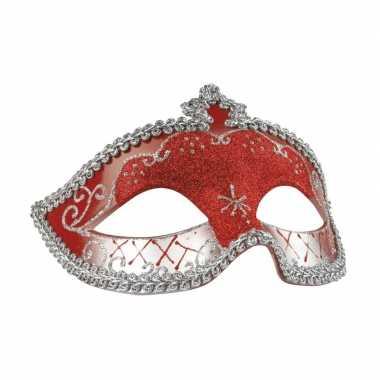 Rood/zilver oogmasker glitters dames carnavalskleding roosendaal