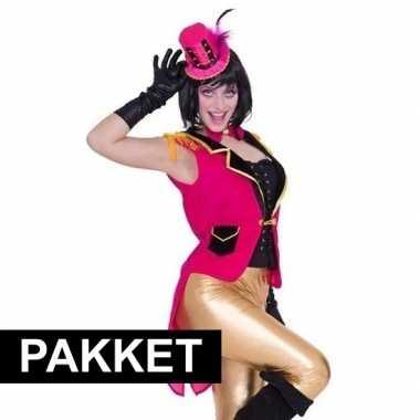 Roze accessoires slipjas inclusief roze hoedje carnavalskleding roose