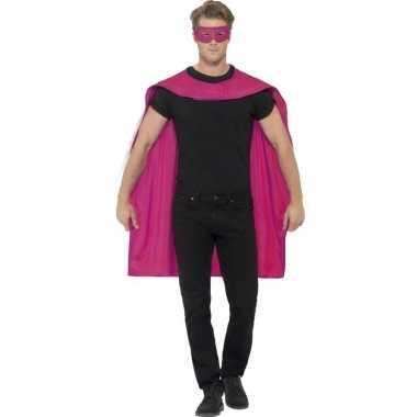Roze cape oogmasker volwassenen carnavalskleding roosendaal