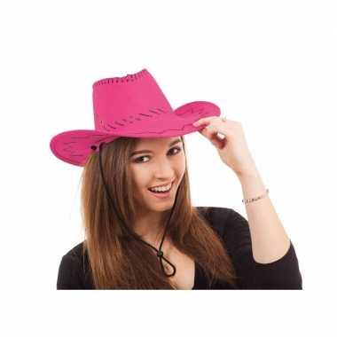 Roze cowboy hoed stiksels carnavalskleding roosendaal