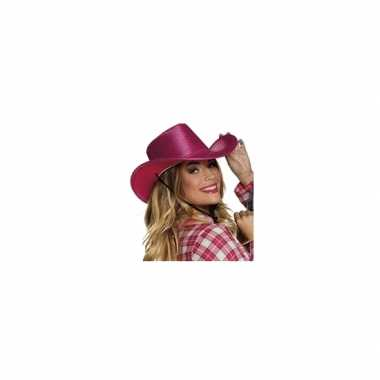 Roze cowboyhoed howdy pailletten volwassenen carnavalskleding roosend