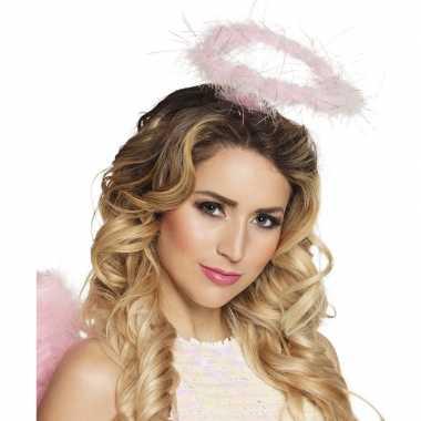 Roze engel verkleed diadeem/tiara halo carnavalskleding roosendaal