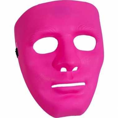 Roze gezichtsmasker carnavalskleding Roosendaal