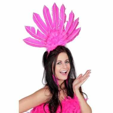 Roze haarband veren dames carnavalskleding roosendaal