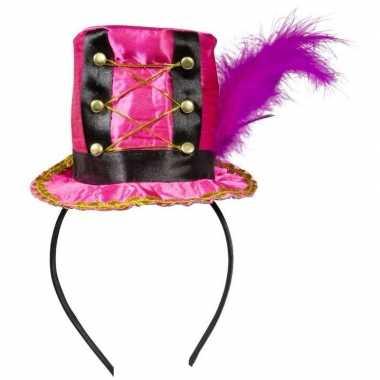 Roze hoedje diadeem dames carnavalskleding roosendaal