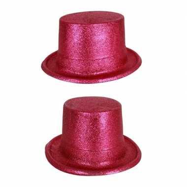 Roze hoge hoed glitters volwassenen carnavalskleding roosendaal