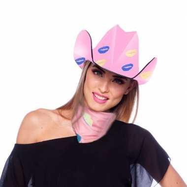 Roze kartonnen cowboyhoed lippen/kusjes dames carnavalskleding roosen