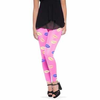 Roze legging lippen/kusjes dames carnavalskleding roosendaal