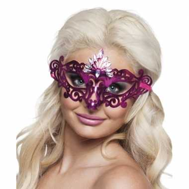 Roze oogmasker diamanten dames carnavalskleding roosendaal