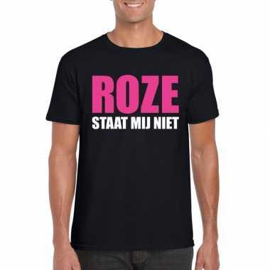 Roze staat mij niet toppers t shirt zwart heren carnavalskleding roos