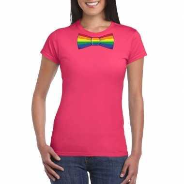 Roze t shirt regenboog vlag strikje dames carnavalskleding roosendaal