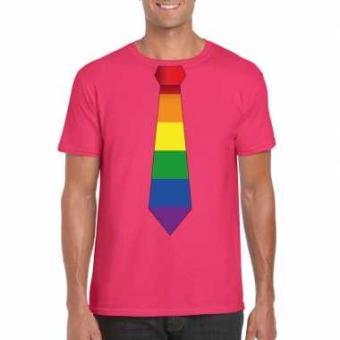 Roze t shirt regenboog vlag stropdas heren carnavalskleding roosendaa