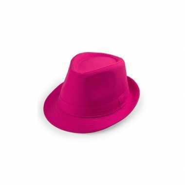 Carnavalskleding roze trilby hoedje roosendaal