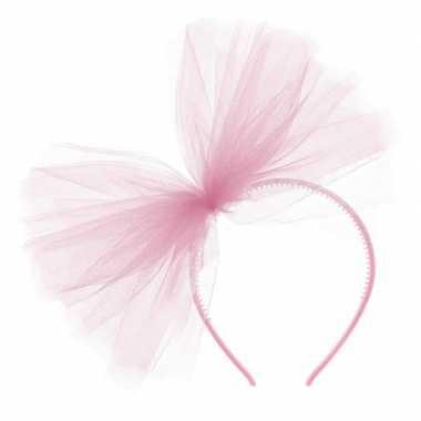 Roze verkleed diadeem tule strik dames carnavalskleding roosendaal