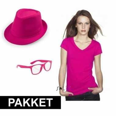 Roze verkleed set dames carnavalskleding roosendaal