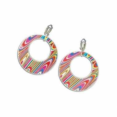 Carnavalskleding s disco oorbellen gekleurd roosendaal