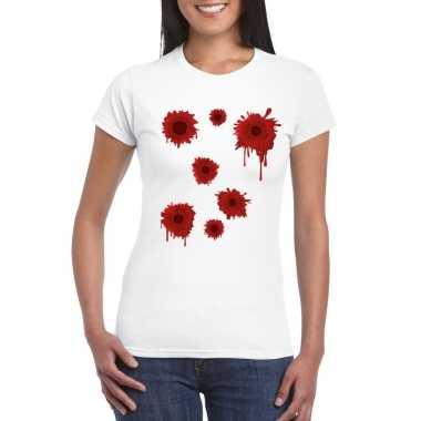 Schotwonden t shirt wit dames carnavalskleding roosendaal