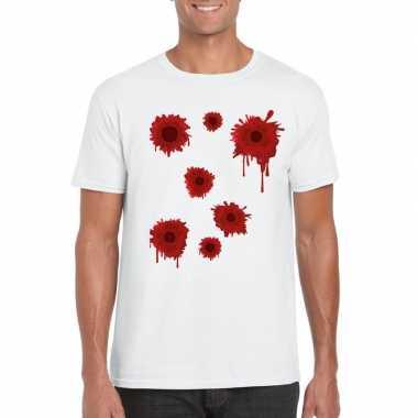 Schotwonden t shirt wit heren carnavalskleding roosendaal