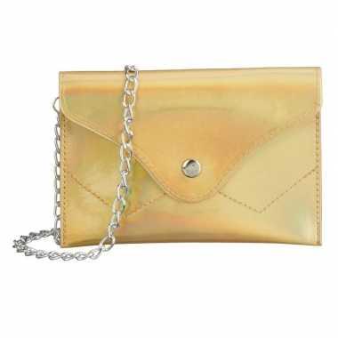 Schoudertasje/handtasje metallic goud carnavalskleding roosendaal