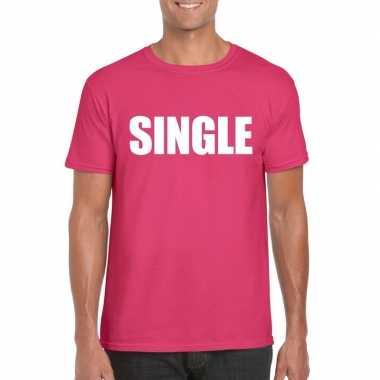 Single/ vrijgezel tekst t shirt roze heren carnavalskleding roosendaa