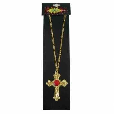 Sinterklaas kruis ketting rode steen carnavalskleding roosendaal