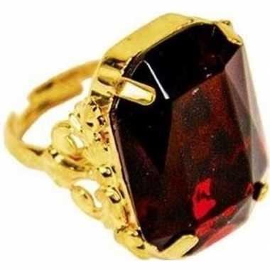 Sinterklaas verkleed ring goud/rood rechthoekig heren carnavalskledin
