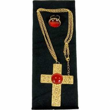 Sinterklaas verkleed sieraden set ketting ring heren carnavalskleding