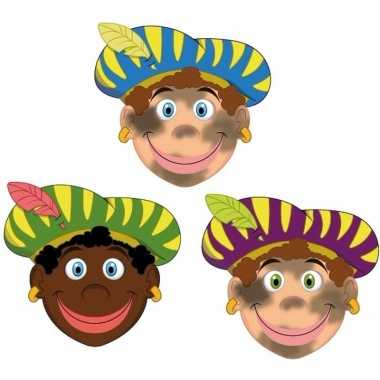 Sinterklaas zwarte pieten maskers setje stuks carnavalskleding roosen