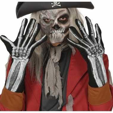 Skelet horror verkleed handschoenen volwassenen carnavalskleding roos