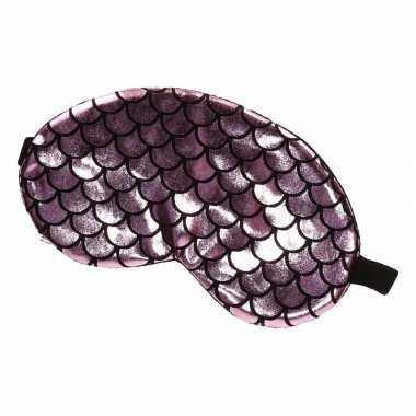 Slaapmasker/oogmasker zeemeermin roze/zwart volwassenen carnavalskled