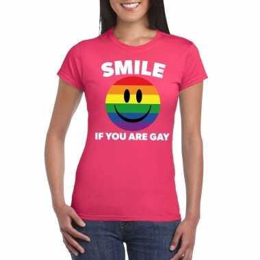 Smile if you are gay emoticon shirt roze dames carnavalskleding roose