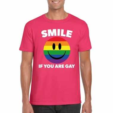 Smile if you are gay emoticon shirt roze heren carnavalskleding roose