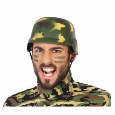 Soldaten verkleed helm camouflage volwassenen carnavalskleding roosen