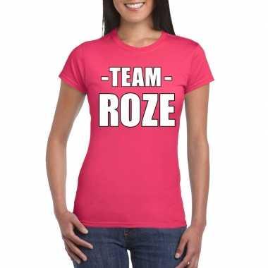 Sportdag team roze shirt dames carnavalskleding roosendaal