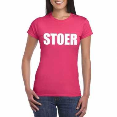 Stoer tekst t shirt roze dames carnavalskleding roosendaal