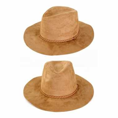 Suede cowboyhoed beige volwassenen carnavalskleding roosendaal