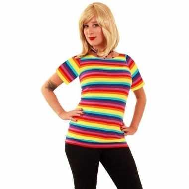 T shirt regenboog strepen dames carnavalskleding roosendaal