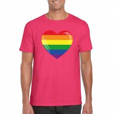 T shirt regenboog vlag hart roze heren carnavalskleding roosendaal
